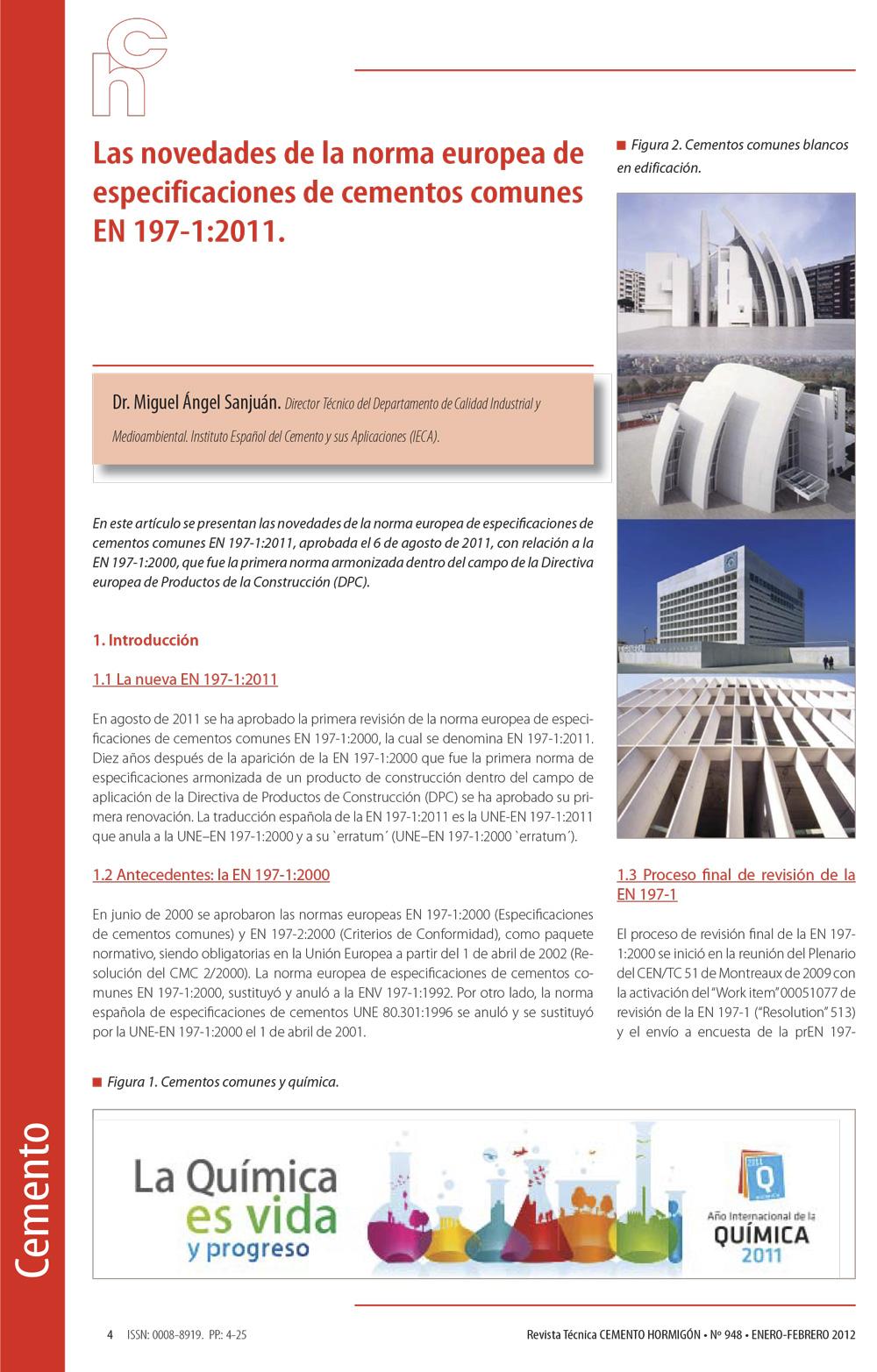 Las novedades de la norma europea de especificaciones de cementos comunes EN 197-1:2011.