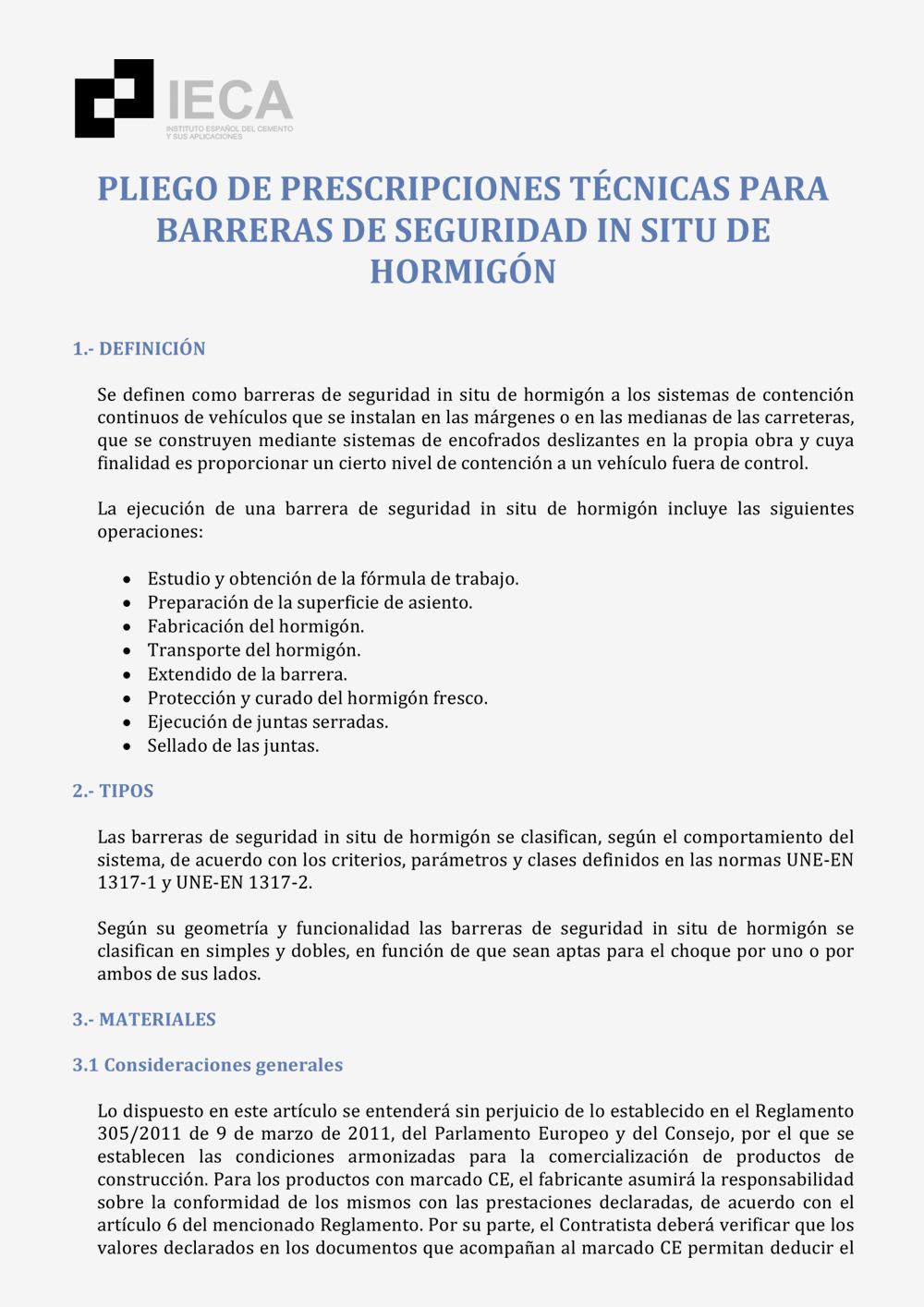 Pliego de prescripciones técnicas para barreras de seguridad in situ de hormigón