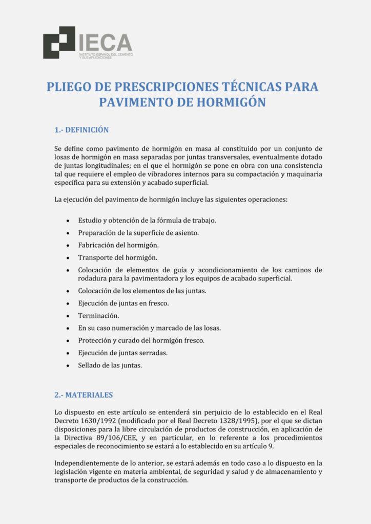 Pliego de prescripciones técnicas para pavimento de hormigón