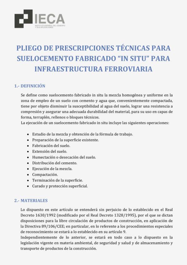 """Pliego de prescripciones técnicas para suelocemento fabricado """"in situ"""" para infraestructura ferroviaria"""