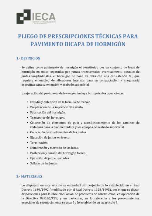 Pliegos de prescripciones técnicas para pavimento bicapa de hormigón