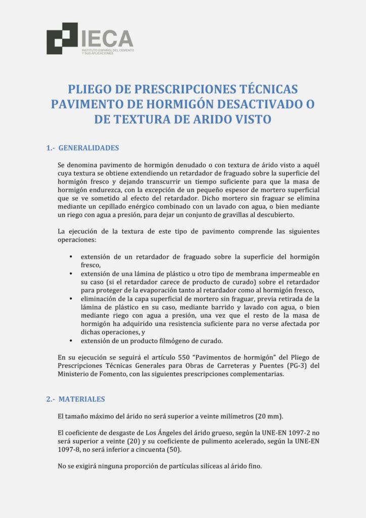 Pliegos de prescripciones técnicas para pavimento de hormigón desactivado o de textura de árido visto