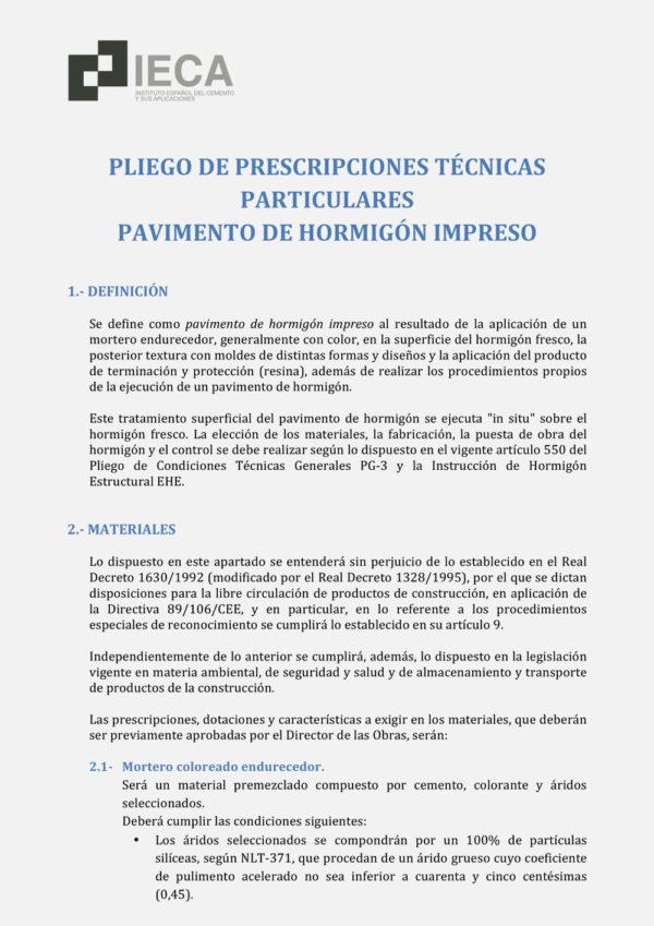 Pliego de prescripciones técnicas para pavimento de hormigón impreso