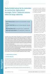 Radiactividad natural de los materiales de construcción. Aplicación al hormigón. Parte 1: Radiación externa: índice de riesgo radiactivo