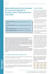 Radiactividad natural de los materiales de construcción. Aplicación al hormigón. Parte II: Radiación interna: el gas radón