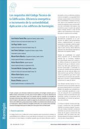 Los requisitos del Código Técnico de la Edificación. Eficiencia energética e incremento de la sostenibilidad. Aplicación a los edificios de hormigón