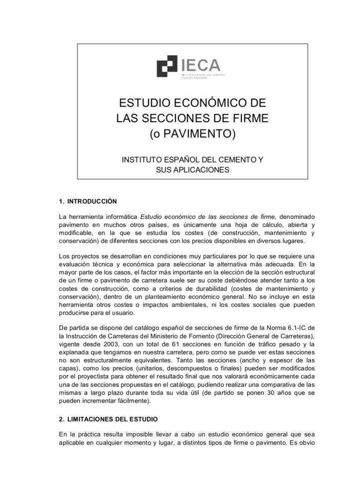 Estudio economico de las secciones de firme